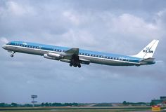 A Douglas DC-8-63 of KLM departing Schiphol Airport, 1984 - wikimedia