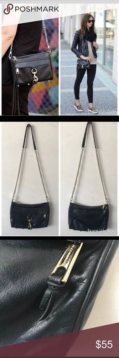 """Rebecca Minkoff Mini MAC Crossbody Bag Rebecca Minkoff Mini MAC Crossbody Bag $295 retail.  Interior is clean w/a few spots- leather is in great condition with no scratches or marks. Leather tassel has been cut from zip pulls. Hardwear has a few scratches. See all photos.   * 11"""" L x 2"""" D x 8"""" H with a 21"""" drop chain strap  * Genuine leather  * Custom light gold hardware  * Exclusive lining Rebecca Minkoff Bags Crossbody Bags"""