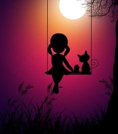 Kid girl and cat, swing, moon light, digital art, wallpaper Art Anime Fille, Anime Art Girl, Cute Cartoon Wallpapers, Cute Wallpaper Backgrounds, Wallpaper Wallpapers, Pretty Wallpapers, Screen Wallpaper, Shadow Painting, Art Mignon