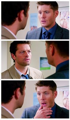 Dean is clearly staring at Cas' lips in the last pic while touching his own. I'm no doctor but I'd say there's an underlying psychological connection in that.