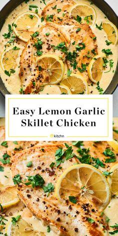 Recipe: Easy, Creamy Lemon Garlic Skillet Chicken - Stuff I want to make - Chicken recipes healthy Healthy Dinner Recipes, Vegetarian Recipes, Beef Recipes, Easy Recipes, Lemon Recipes Dinner, Atkins Recipes, Dessert Recipes, Meatloaf Recipes, Meatball Recipes