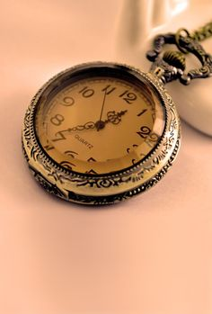 Once Upon a Time Tea Glass Pocket Watch Necklace