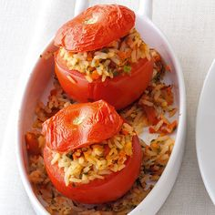 Gefüllte Reis-Tomaten