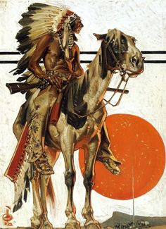 J. C. Leyendecker - Indian with Campfire, 1923.