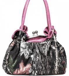 Pink Camouflage Kiss Lock Closure Purse Handbag - Handbags, Bling & More!