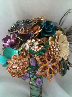 """Brooch Bouquet Vintage inspired """"Shake Your Tail Feathers"""" using vintage brooches Costume Jewelry Crafts, Vintage Jewelry Crafts, Jewelry Art, Jewelry Ideas, Jewellery, Vintage Diy, Vintage Pearls, Vintage Brooches, Wedding Brooch Bouquets"""