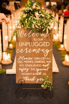 Wedding Ceremony Decor with Handpainted Wood Unplugged Wedding Sign with Greenery and Candles