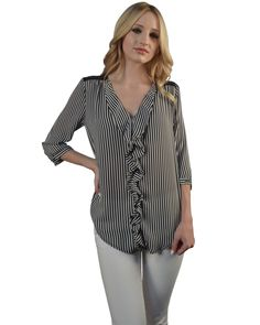 Striped Shirt with Net Details At The Back-id.29392