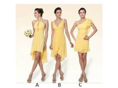 Bridesmaid Dress Mismatch - Yellow bridesmaid dress (short/ v-neck, halter, one-shoulder, mismatched bridesmaid style)