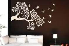 Vinil decorativo de Frondosa rama y Pajaros volando - Calcarte Dale vida a tus paredes!
