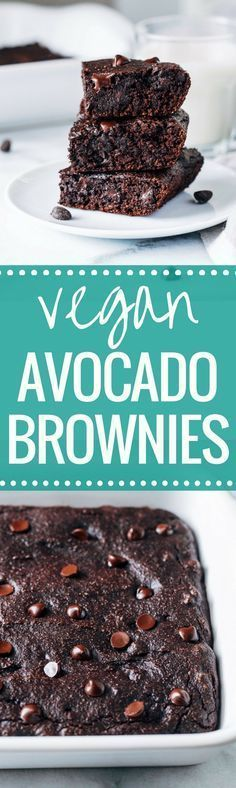 Vegan Avocado Brownies- avocado replaces oil for a rich chocolate brownie that's packed full of healthy fats. Refined sugar-free + less than 10 ingredients to make! (whole grain)