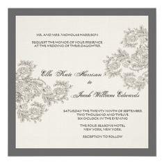 Vintage Inspired Wedding Invite // Charcoal #invitation