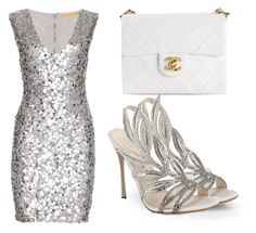 """Silver"" by musicheartbeatjj ❤ liked on Polyvore featuring Sergio Rossi, Alice + Olivia and Chanel"