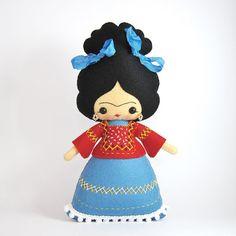 Frida Kahlo muñeca de fieltro 100% lana muñeca por UnBonDiaHandmade Frida Kahlo felt doll, pattern from Noialand