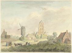 Hermanus Petrus Schouten | Kerk van het dorp Westkapelle in Zeeland, Hermanus Petrus Schouten, 1757 - 1822 | De kerk van het dorp Westkapelle in Zeeland, van de dijk af gezien; op de voorgrond een molen.