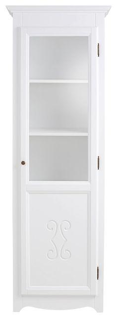 In folgenden Farben erhältlich:  Korpus/Front: weiß, Korpus/Front: kolonialfarben,  Details:  1 Tür mit Glaseinsatz, 2 oben verstellbare Holzböden, 1 unten fester Holzboden, 5 Fächer, Fachinnenmaße (B/T/H): ca. 53/33/32 cm, Fachinnenmaße (B/T/H): ca. 53/33/34 cm, Türanschlag rechts, Türanschlag links, FSC®-zertifiziertes Massivholz, Pflegeleichte Oberflächen, Das Holz ist Fichte., In hochwertig...