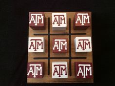 TEXAS A&M Tic-Tac-Toe Set would be a great gift to your Aggie couple on their wedding day!  Follow thehowdyweddingguide on Instagran for more Aggie wedding shares!