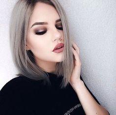 makeup, beauty, hair, bob, grey