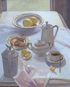 "'Tea with Lemons' - 24""x30"" #oilpainting #stilllife #instaart #instaartist #contemporaryart #contemporaryartist #realism #fromlife #rosemarybrushes #oldhollandpaints #oleogel #rublev"