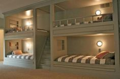Bedroom, Ideas Kids Rooms Bunk Beds Stairs Small House Designs Decorating Bed Twin Loft Furniture Room Design Paint Colors Plans Four Bunk Bed: Excellent Room Adorning Designs Wooden Type Bunk Mattress Storage