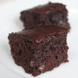 Slimmed-Down Brownies 3/4 cup all-purpose flour 1/2 cup unsweetened cocoa 1/4 teaspoon salt 1/2 teaspoon baking powder 4 tablespoons unsalted butter, at room temperature 2/3 cup sugar 1 large egg 2 egg whites 1 teaspoon vanilla extract 2 tablespoons espresso 1/2 cup nonfat Greek yogurt 1/4 cup semisweet chocolate chips