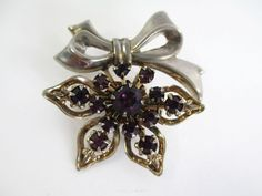 Vintage Royal Purple Rhinestone Riveted Bow Brooch Pin 1920's #Unbranded