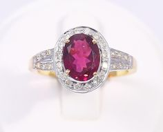 Dazzling Jewelry Red Tourmaline with Diamonds 14k Solid Gold Gemstone Ring Sz7.3 #Handmade #Ring