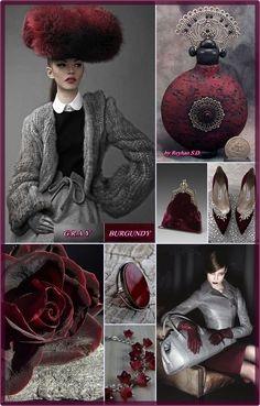 '' Burgundy & Gray '' by Reyhan Seran Dursun