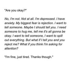 Best Depression quotes and sayings about depression can provide insight into what it's like living with depression as well as inspiration and a feeling quotes about depression and anxiety Sad Quotes, Life Quotes, Inspirational Quotes, Im Fine Quotes, Life Sayings, Citations Film, Im Depressed, Dissociation, Depression Quotes