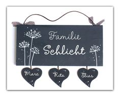 Door sign wood family sign name plate pusteblume IV wood sign hand painted unique custom personalized wedding gift Family Wishes, Family Planning, Family Signs, Personalized Wedding Gifts, Door Signs, Wooden Signs, Colorful Backgrounds, Names, Hand Painted