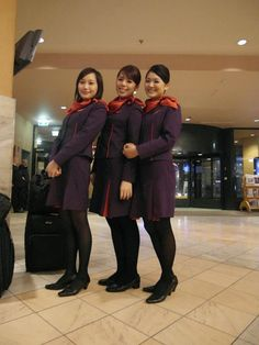Hong Kong Airlines beautiful stewardesses give passengers a nice smile and the great in-flight service. One of the travel option to Hong. Hong Kong Airlines, Cabin Crew, Flight Attendant, Places To Travel, Pilot, Funny Pictures, Winter Jackets, Girly, Smile