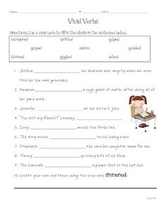 Worksheet Vivid Verbs Worksheet vivid verb replacement story speech therapy worksheets pinterest five for friday and a freebie