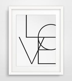 Love Print Black and White Art Geometric by MelindaWoodDesigns