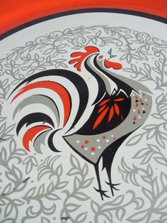 Large Mid Century Rooster Metal Tray by lookonmytreasures on Etsy, $20.00