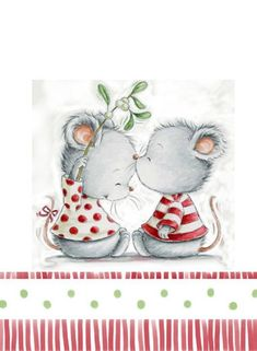Awwww :) Very cute and romantic mice illustration. Illustration Noel, Christmas Illustration, Illustrations, Christmas Pictures, Christmas Art, Vintage Christmas, Cute Images, Cute Pictures, Art Mignon