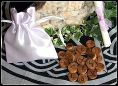 Wooden Elder Futhark Runes handcrafted from Olive wood set of 25 in Lilac Satin…