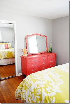 Trying to figure out what color to paint our chest of drawers and I can't commit.. but this coral is gorgeous