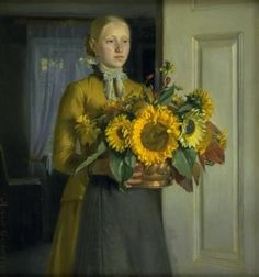 michael ancher: a girl with sunflowers, 1889