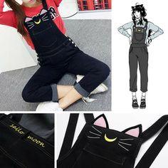 S-XL Sailor Moon Luna Black Cat Suspender Overalls Pants SP165349