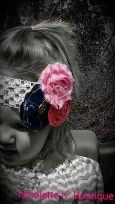 Nautical Headband Pink and Navy Shabby Rose