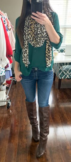 AG raw hem ankle skinny jeans with hunter green Lush tab sleeve tunic and BP. leopard scarf | Nordstrom Anniversary Sale 2017 Hits and Misses by southern blogger Diary of a Debutante
