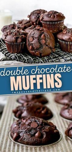Moist Chocolate Chip Muffins, Chocolate Flavors, Chocolate Recipes, Chocolate Chips, Brownie Muffin Recipe, Simple Muffin Recipe, Chocolate Muffin Recipe Easy, Double Chocolate Chip Cookie Recipe, Double Chocolate Cheesecake