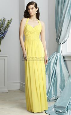 Yellow Long Chiffon Open Back Halter Bridesmaid Dresses