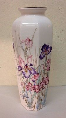 10 Japan Ayame Seizan Porcelain Tall Vase With Floral Design - No Chips