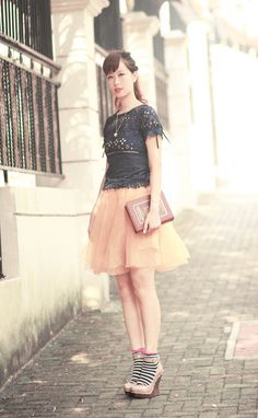 navy crochet top- beckybwardrobe,  ginger sheer skirt- romwe,  kate spade dictionary clutch,  accessorize socks,  mcq studded wedges
