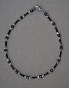 Jewelry - Anklets - Black Tan and Silver Beaded Anklet by JewelryArtByGail on Etsy
