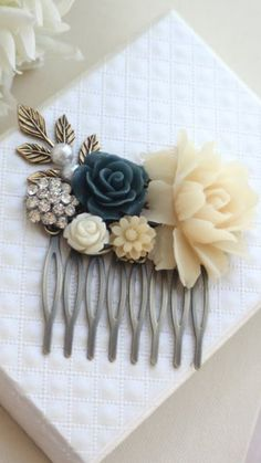 Ivory Rose Navy Blue Crystal Rhinestone Pearl Flower Hair Comb