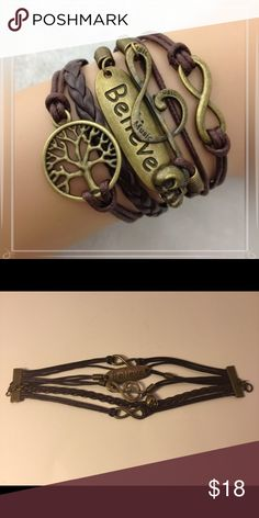 🎼Brown Leather Copper Charm Bracelet🎼 Such a fun bracelet! Features an infinity symbol, music, believe and a skull. Adjustable.  Please comment with any questions and feel free to make an offer with the blue button! ⭐️ Purchase by noon EST and item(s) ship the same day!  Bundle 2+ items and save 15%, just click the three dots in right hand corner💕 Jewelry Bracelets