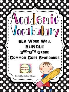 This colorful polka dot themed BUNDLE of Common Core ELA academic vocabulary word wall cards is perfect for display in any 3rd-6th grade or multi-level classroom. This word wall set was created based on the 3rd - 6th grade word lists developed by the Common Core State Standards and contains ALL words from the Reading Literature, Informational Reading, Writing, Speaking/Listening and Language strands. This is a MEGA bundle for a reasonable price! This BUNDLE contains 195 word wall cards. $