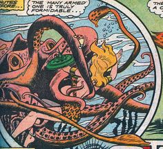 Cephalopods Another reason to love jungle girls: they're doing their part in the War Against the Giant Tentacled Things. Red Octopus, Tentacle, Cthulhu, Comic Character, Underwater, Spiderman, Ocean, Superhero, Comics